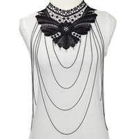 belly chains jewelry - Bow Body Chain Women Statement Necklaces Vintage Lace Body Jewelry Collar Choker Necklace Gothic Accessories