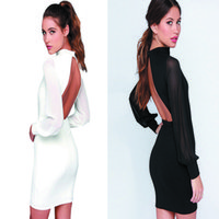 adult backpacks - The new arrival the top the explosion of sexy dew backpack hip skirt color stitching slim black and white dress size S M L XL