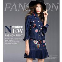 bee buttons - The new arrival autumn new blue bee loose stitching big yard loose code jacket A word waist denim short skirt suit dress girl size S M L XL