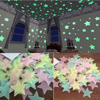 Wholesale 100pcs Set Glow In The Dark Stars Luminous Fluorescent D Wall Stickers Home Decor For Kids Rooms Wall Art Decals