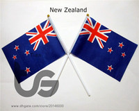 Wholesale New Zealand flag Banner Pieces x21cm Flag Polyester Flags With Plastic Flagpoles For Celebration Decoration New Zealand