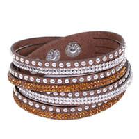 Wholesale Hot Selling Rhinestone Wrap Bracelet With Sparkling Crystal Women Trend Wristband Jewelry Velvet Bracelets For Gift