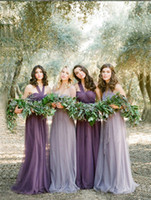 Wholesale Fashion Tulle Bridesmaid Dress Styles A line Maid Of Honor Ruffle Cheap Bridesmaid Gowns bridesmaid dresses long