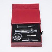 glass dish - 10mm mini nectar collector kits with Titanium Quartz Nail Dabber Dish Mini Glass Bong mm joint Smooth Hit Box Kit