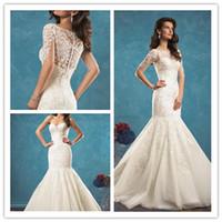 antique ivory color - 2017 amelia Sposa ivory lace mermaid wedding dress sweetie unbacked antique Vestidos court train wedding dress and jacket