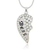 american shares - Newstyle Break Heart Pendant Necklace Zinc Alloy Plating Crystal Best Friends Share With Your Friends