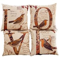 Wholesale 4 set Vintage pillowcase creative Love pillow cases covers Retro pillowcase Cotton Linen pillow cover