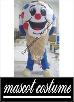 arm sporty - Delicious Colourful Ice Cream Cone Gelato Mascot Costume With Red Round Nose Blue Arms Thin Pants Yellow Shoes No FS