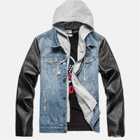antique leather jackets - Fall new patchwork antique style knited rib leather sleeve mens hooded denim jacket hooded jean jacket AY107