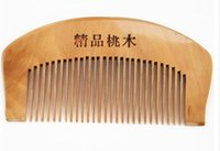 amber peach free - Natural Wide Tooth Peach Wood No static Massage Hair Brush Wood Comb Engraved Comb Hair Styling Tools