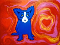 One Panel Oil Painting Classical Blue Dog Love is All Around Me, Genuine High Quality Pure Hand Painted Wall Decor Art Oil painting on canvas