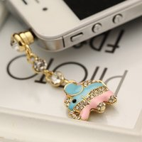 Wholesale Lovely Color Drop Oil Fashion style mm Elephant Design Mobile Phone Ear Cap Dust Plug For Iphone Samsung dust plug