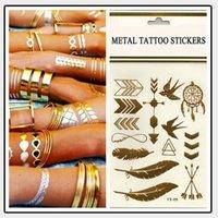 arm chain tattoos - Body art chain gold tattoo temporary tattoo tatoo flash tattoo metallic tattoo jewelry temporary tattoost stickers