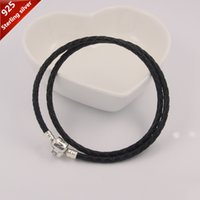 Wholesale Suitable For Pandora Charm Sterling Silver Clip Clasp Charms Bracelet Black Genuine Leather Necklaces DIY Jewelry CM Promotion