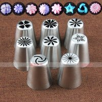 Wholesale New Big set Stainless Steel Russian Tulip Icing Piping Nozzles Fondant Cake Decorating Tip Sets