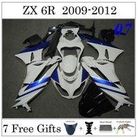 Wholesale Motorcycle Fairing Body Set For Kawasaki ZX R ZX6R Motorbike Cowling White Blue Ninja