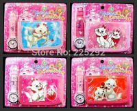 auto cat - sets high quality cute cartoon marie cat boys girls quartz leather wrist watch with wallet