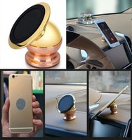Wholesale Magnetic Degrees Rotation Cell Phone Holder Car Stander Strong Dashboard Mount For iPhone s Plus Samsung S6 S7 GPS DHL Free