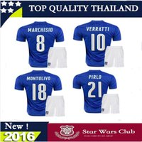 Cheap 2016 17 Top thai quality Italy kits soccer Jersey home away PIRLO El Shaarawy Balotelli Verratti MARCHISIO national team football shirts