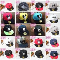 Wholesale 50pcs colors Mickey Mouse Kids Cartoon Snapback Caps Donald Duck child baseball cap childrens boy and girl summer hats D801