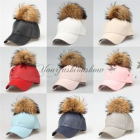 artificial sun - 9 Color New Fashion Hat Hip Hop PU Leather Fur Baseball Cap Snapback Pom Pom Hat Women Men Unisex Peaked Sun Caps With Ball M286
