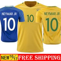 Wholesale Brazil jerseys Home Away NEYMAR JR Jersey Wold Cup Yellow Blue Football Shirt brasil Jersey brasil Jersey Brazil scoeer jersey