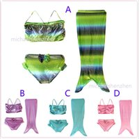 beach suit designs - Girls mermaid tail bowknot Bikini cosplay Swimsuit DHL Design children Bikini Bathing Suit Swimsuit Beach Wear Swimming sweetgirl B001