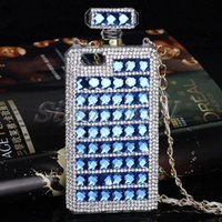 apple chian - Luxury Bling Diamond Perfume Bottle Case For iphone6 s plus Soft TPU Rhinestone Case With Chian For iphone5 s