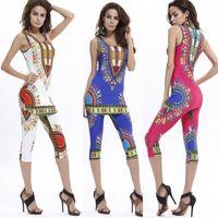 Wholesale Hot Sale Summer Sexy Bodysuit Fashion Women Geometric Ethnic African Totem Printing Comfortable Elastic Vest Pants Suit Color