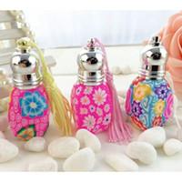 beautiful bottles - 5ml Beautiful Color Floral Roller Perfume Bottle Color Tassel Decor Refillable Empty Bottle for Women New Brand FZ324