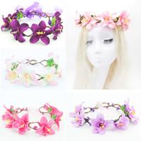 artificial adjust - Artificial Flower Wreath Wedding Girls Flower Crown Women Butterfly Headband with Adjust Bridal Headpiece Girls Hair Wreath