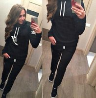 Wholesale 2016 New Women Hoodies Sweatshirts Sets Hoodies Pullover Sportsuit Women Tracksuits sweatshirt and pants Size S XL