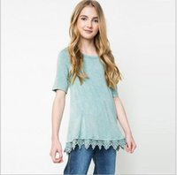 big jumpers - Junior Crochet lace T shirts Teenagers Fashion Cotton Shirts Big Baby Girls Summer Christmas Jumper tops Children s casual Clothing