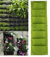 al por mayor jardinería vertical,-2016 Nueva interior de pared al aire libre Jardinero colgante verticales Felt Garden planta ollas crecen bolsas de contenedores 7/18 bolsillos opcionales para la decoración