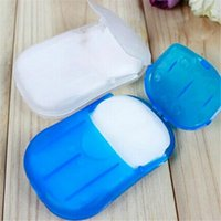 Wholesale 20 Sheets Travel Health Care Whitening Exfoliating Clean Wash Hand Soap Portable Paper Leaves Soap with Mini Case