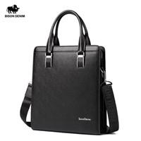 Wholesale BISON DENIM Cowhide Genuine Leather Bag For Mens Hard Briefcase Business Bag Fashion Blue Classic Tablet Handbag Tote