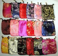 Wholesale Cheap Small Chinese Silk Fabric Pouch Drawstring floral Gift Bag Favor Packaging Bags