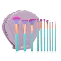 badger color - Presale NEW Spectrum Brushes Mermaid Dreams Piece Vegan Brush Set Glam Clam Case Pink Color VS Hello kitty Brush