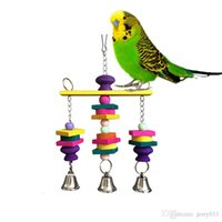 Wholesale Colorful Bird Toy Parrot Hanging Wooden Swing Bells Parakeet Budgie Cockatiel G01342