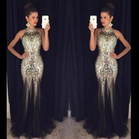 art sparkle - Sexy Backless Prom Dresses Mermaid Halter Marjor Beads Sparkle Gold Sequined Long Formal Evening Party Gowns Party Queen Dresses BA2421