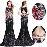 Wholesale Real Image Black Print Mermaid Prom Party Dresses Two Piece Crop Top D Colorful Floral Appliques Formal Evening Occasion Gowns Cheap