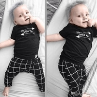 best boys clothes - 2016 Summer INS Best Selling Baby Boy Set Set T shirt Pant Black Kids Clothes Arrow Printing Baby Clothing Cotton100
