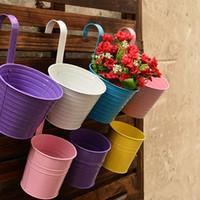 balcony plant holder - 4pcs ZAKKA hanging flower pot Removable hook wall pots iron flower holder Balcony Garden Planter Home Decor Plant Tub Pots