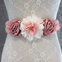 Wholesale Fashion Vintage Pink ivory flower Belt Girl Woman Sash Belt Wedding Sashes belt with flower headband SET