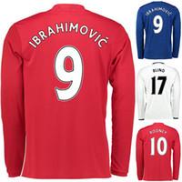 Wholesale Long Sleeve IBRAHIMOVIC MAN Utd Soccer Jersey ROONEY LS Football Jerseys Tops Customized MATA Soccer Jersey Shirt FELLAINI