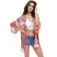 Wholesale The new style national wind printed beach pink chiffon blouse sun outside the ride