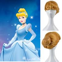 Wholesale Cartoon Movie Cinderella Blonde Cosplay Wig Buns Wig Polular Movie Cos Wigs