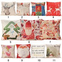 Wholesale Christmas Series Pillow Cover Xmas Ambience Decorative Square Pillow Case Cartoon Santa Alphabet Owl Home Bed Supplies Gift