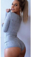 Wholesale Sexy deep v neck button jumpsuit romper Women tops elastic slim long sleeve european stars short bodysuit Overalls X130