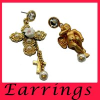 ancient pearls - Europe And the United States Sell Like Hot Cakes Baroque Angel Restoring Ancient Ways Is Asymmetrical Aross Long Earrings Set Auger Hearts
